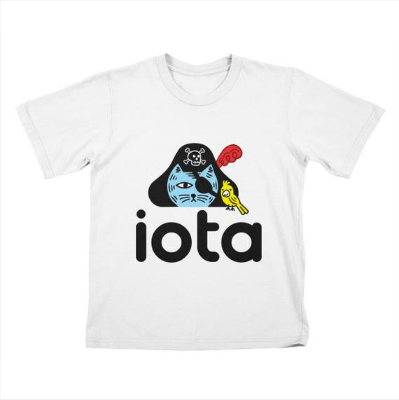 iOTA Pirate Kitty - Childrens T-shirt - White / Royal Blue / Clover Green / Stone by Oliver Lake - iOTA iLLUSTRATION
