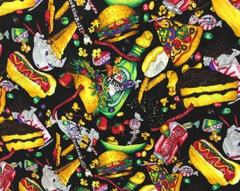 """90's novelty print junk food fabric panel 1990's fake food brands printed cotton 2 yards 19"""" x 75"""" gross fast food beer candy Nicole Miller"""