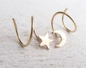 Moon and Star Double Piercing Earrings / Hoops for 2 Side by Side Ear Piercings in 14/20 Gold Filled / Yellow Gold Filled / Spiral Hoops