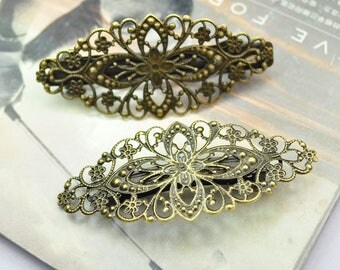 Hair clips, cabochon snap hair clips, french barrette clips, blank hair barrettes, 5pcs Bronze filigree flower bezel tray French Clips 78mm
