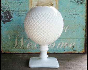 Vintage Milk Glass Ivy Bowl by Westmoreland / Milk Glass Wedding Vase / Milk Glass Vase