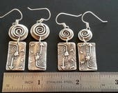 RESERVE larger earrings for Jody - Fine Silver Upside Down Primitive Dangles - PMC Earrings