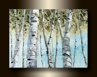 Birch Forest Landscape Painting Oil on Canvas Textured Palette Knife Modern Original Tree Art 12X16 by Willson Lau
