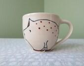 Pig Mug - Pig Flowers - Handmade Ceramic Mug - Cute Illustration - Animals Mug - Farm Animals Illustration - Cute Pig Illustration