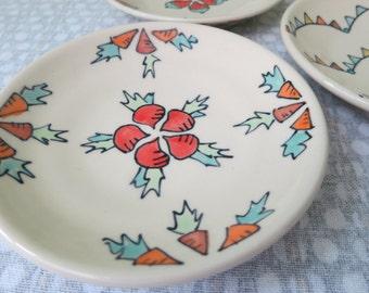 Handmade Snack Plate Wheel Thrown Pottery Veggie Illustration Vegetable Themed Pottery Carrot and Radish Pattern Plate Small Dessert Plate