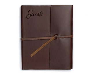 """Wedding Guest Book Leather, Unique guest book ideas for weddings, Reception Sign In book, 6.5"""" x 8.25"""", Various colors"""