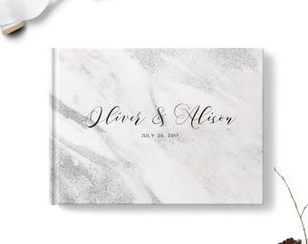 Guest sign in book, Landscape or Portrait, Wedding guest book, Gray Marble gb0099