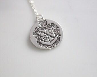 Zeta Tau Alpha Crest Necklace in Silver / ZTA Sorority Jewelry