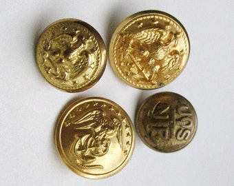 Group of 4 WWII Military Uniform Buttons Eagle Officer Navy Reserve Anchor Marines