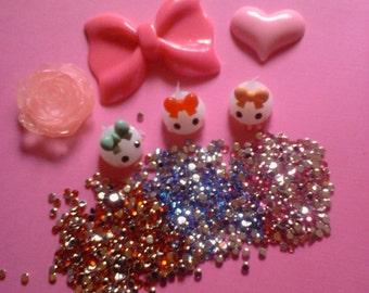 Sale sale---Kawaii cabochon decoden deco diy pink bow and teardrops charm kit  C 20---USA seller