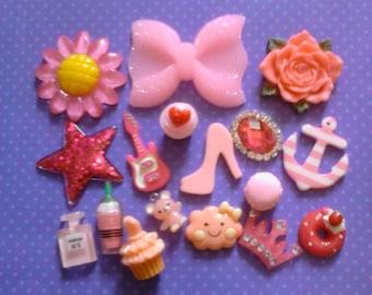kawaii cabochon mini pink mix devoden deco diy 17 pcs #  230---USA seller