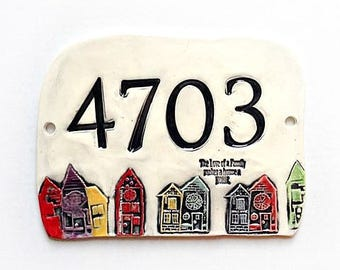 Home Address Sign - Ceramic Address Sign - House Numbers - New Home Address  - Number Plaque - House Pottery Numbers - Address Plaque