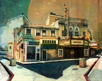 """The Rialto, your name in lights- Fine Art Reproduction - 16 x 16"""" - Signed by the artist"""