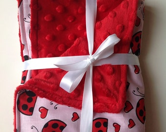 "Ladybug minky fleece cotton baby blanket 26""x28"""