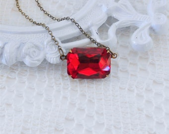 Ruby Red Necklace, Art Deco Necklace, Red Choker, Old Hollywood Vintage Glass Jewel Necklace, Estate Jewelry, Siam Red Necklace, Red Crystal