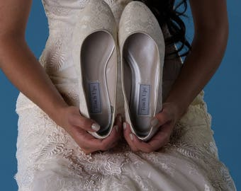 Ivory Lace Wedding Shoes Ivory Lace Bridal Shoes Lace Kitten Heel Bridal Shoes - PICK YOUR COLOR Over 100 Color Choices