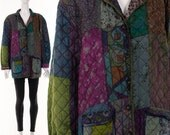 Silk JEWEL TONE Quilted Jacket Wearable Art Cocoon Statement Jacket Bohemian Art Print Hand Painted Silk Jacket Oversize Slouchy M L