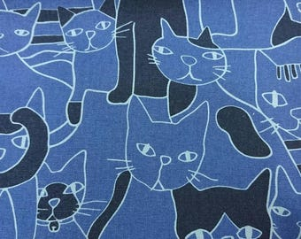 """Ugly cat - 1 yard - cotton linen - blue color - ,cat fabric, Check out with code """"5YEAR"""" to save 20% off"""