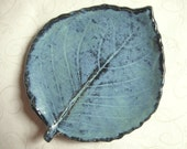 Misty Aqua Slate Blue Pottery Leaf Spoon Rest