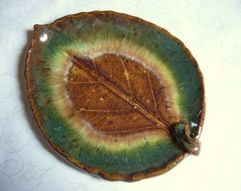 Nature Pottery Leaf Spoon Rest or Dish