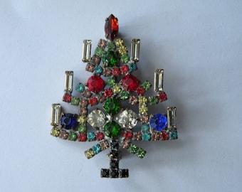 Multi Colored Czech Rhinestone Christmas Tree Pin brooch.