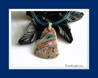 Stone, Leather, Boho Necklace in Teal with Coral Agate, Natural Style, Earthy