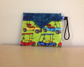 """Golfer's Tee Bag Golf Carts - Quilted Fabric Mini Snap Bag Pouch 5"""" x 4"""""""