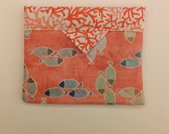 "Coral and Fish Quilted Fabric Mini Snap Bag Purse Handbag 5-1/4"" x 4-1/4"""