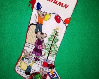Right Facing Mouse Crewel Christmas Stocking Needlework Kit - Cute Traditional Christmas Family Decor Keepsake