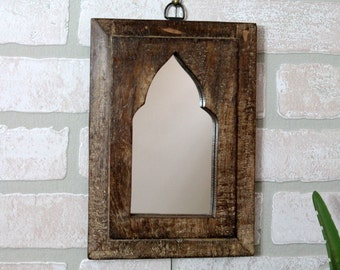 Moroccan Mirror Vintage Reclaimed Wood Mirror Wall Hanging Art Distressed Wood Toned Mirror Moroccan Decor Turkish