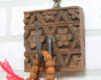 Coat Hanger Wall Hook Antique Reclaimed Hand Carved Indian Printing Block Architectural Element Moroccan Decor