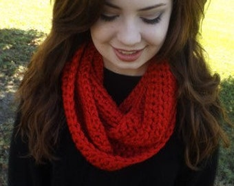 Chunky Crocheted Red Infinity Scarf