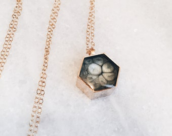 Honeycomb Resin Pendant Necklace - in Grey Silver