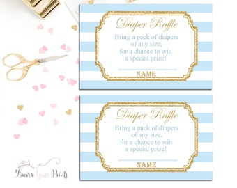 Baby Shower Diaper Raffle Cards, Baby Shower Insert Cards, Blue and Gold Diaper Raffle, Boys Diaper Raffle Tickets, Boys Baby Shower Games