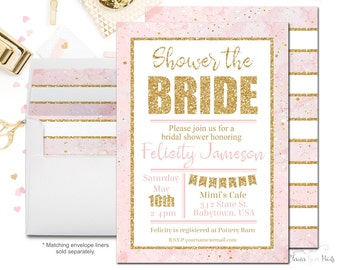PINK + GOLD Bridal Shower Invitations, Shower The Bride Invitations, Shower The Bride Invites, Bridal Shower Invites, Marble Bridal Shower