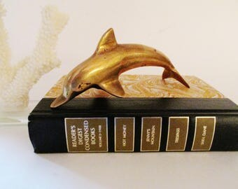 Vintage Brass Dolphin, Brass Sea Animal, Coastal Home Decor