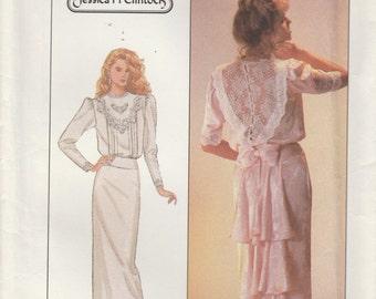 Dress Pattern Straight Skirt Back Flounces 1987 Misses Size 14  uncut Simplicity 8224 Jessica McClintock design