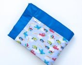Airplanes and Helicopters Baby Blanket - Blue - Crib Blanket