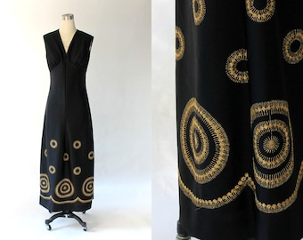 1960s Metallic Gold Embroidered Maxi Dress// 60s Vintage Long Black Knit Empire Waist Dress // Large