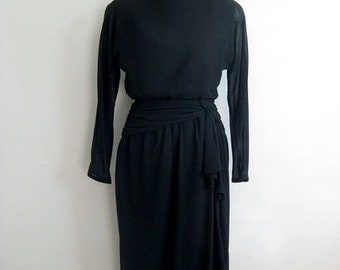 50OFF Vintage 1980s Black Cocktail Dress Town n Country Black Chiffon Ruched Dress 10