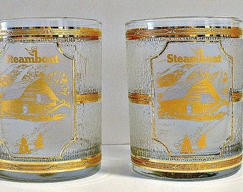 Gold Culver Glasses Set of 2 Rocks Glasses Low Ball Bar Vintage Steamboat Ornate Barware