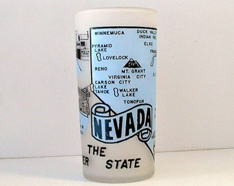 Nevada Souvenir Glass Frosted Glass  The Silver State Hoover Dam Las Vegas 1960's Hazel Atlas Mid Century Barware