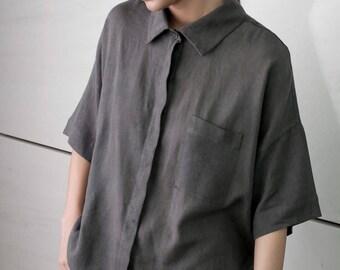 Summer blouse,  black minimal top, short sleeves, buttoned down, formal blouse, drop shoulder, collar shirt, pocket, oversize shirt