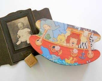 Noah's Ark Tin. Children's Toy. Kid's Storage Box. Vintage Nursery Decor. Baby Shower Gift. Decorative Accent. Bible Character.