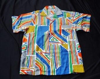 SALE Bold Abstract HAWAIIAN Vintage 1950's Men's Rockabilly Summer Festival Shirt NOS M