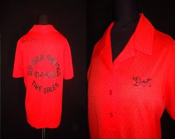 Red Tire Sales DOT Vintage 1960's 1970's Women's BOWLING Shirt L