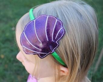 Seashell Headband, Girls Headband, Girl Seashell Headband, Seashell toddler headband, Toddler Headband, clamshell headband, mermaid headband