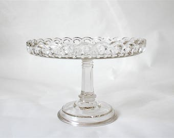 Vintage Tall Glass Cake Stand ... Clear Glass Cake Plate, Fluted Edge, Ribbon Edge, Platter, Retro Bakery, Wedding, Birthday Serving Platter