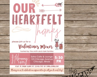Valentine's Day Thank You Mixer Invitation (any event) - DIY Printing or Professional Prints