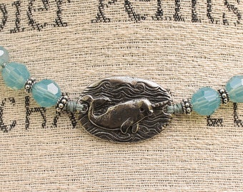 Bohemian Narwhal Jewelry Silver and Turquoise Narwhal Necklace Magic is Everywhere Beach Bohemian Knotted Necklace